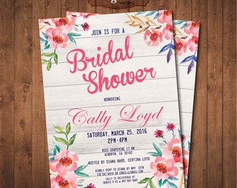 Watercolor Spring Flowers BridalShower Invitation Digital Printable card