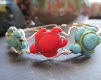 Sterling Silver Bracelet, Cuff Bracelet, Turtle Bracelet, Silver Wire Wrap Bracelet, TM-140