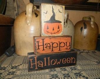 Happy Halloween pumpkin jack o lnatern  Primitive Block Sign