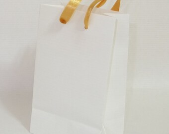 Small white gift paper bags various ribbon colour handles 10pk