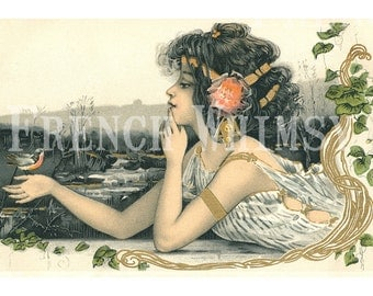 Antique Art Nouveau French Postcard of Beautiful Girl & Bird , Print Size 8 x 5.3 inches High Res Digital Image Instant Download, CU OK
