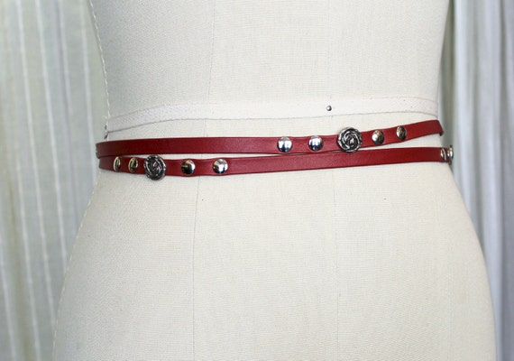SALE - DRAGONFLY - thin and double leather belt, tie at the waist - red