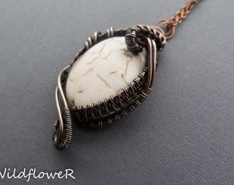 White Howlite Stone Wire Wrapped Pendant Necklace