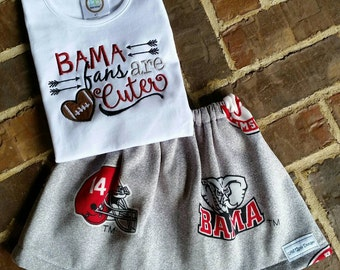 "Alabama Crimson Tide embroidered shirt ""Bama fans are Cuter"" and matching skirt"