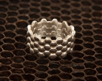 Silver Stacking Hexagon Rings