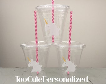 25 Plastic Unicorn Party Cups-12 oz