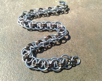 Helm Weave Chainmaille Bracelet - Silver & Brown