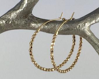 Gold Beaded Hoop Earrings, Gold Hoop Earrings, Gold Earrings, Simple Gold Earrings, 14K Gold Filled Hoop Earrings