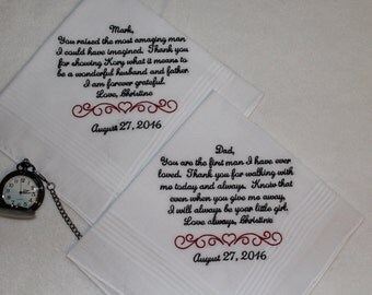 Father of The Bride Gift - Father of the Groom wedding hankerchief - embroidered wedding handkerchief