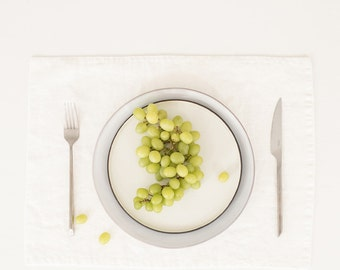 White Stone Washed Linen Placemat