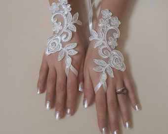 Ivory Wedding gloves bridal gloves lace gloves fingerless gloves ivory gloves french lace gloves free ship