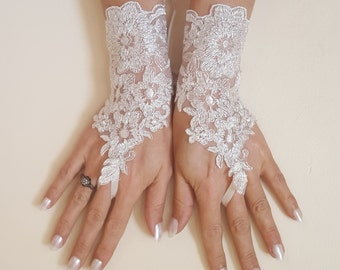 Ivory Wedding gloves bridal gloves lace gloves fingerless gloves ivory gloves french lace silver border gloves free ship