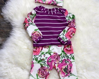 Girl Coming Home Outfit/Orchid Bloom leggings, Orchid Bamboo lappet, beanie