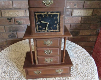 Reduced-Antique Musical Wood Jewelry Box with Clock.