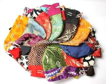 Set of 10 Small Handmade Tibetan Drawstring Fabric Purses- Ethnic Tibetan Mala Pouches Bags Gift Purses- TibetanBeadStore Purses- SP8-10