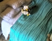 Lovely Dollhouse throw for beds sofas 12th scale miniature shimmering Seafoam
