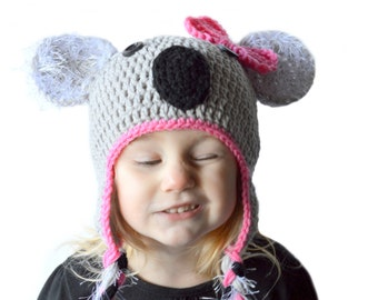 Koala Hat Girls Bow Hat Gray Animal Hat Toddler Girls Dress Up Hat Koala Cosplay Koala Costume Newborn to Adult Photography Prop Winter Hat