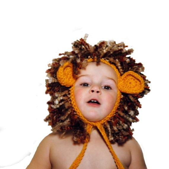 Crochet Lion Hat Wild Animal Bonnet Lion of Judah Lion Bonnet Newborn Photo Prop Crochet Lion Toddler Dress Up Kids Lion Costume Animal Hat