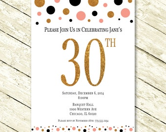 Super Fun Polka Dot and Glitter Birthday Invitation for Women or Young Girls