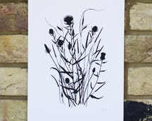 limited edition screen print, hand printed art, wild grasses and flowers, monochrome print, small black and white print