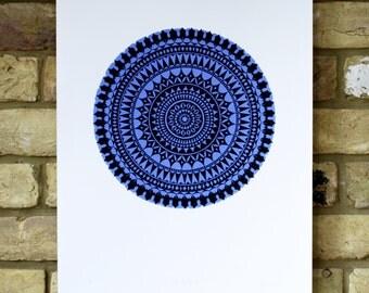 limited edition geometric print, hand printed sea holly screen print, flower print in cobalt blue and black, 40 x 50cm print