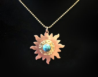 Pendant - Hand Hammered Copper and Brass Sun Pendant with Turquoise Cabochon - FREE SHIPPING!!