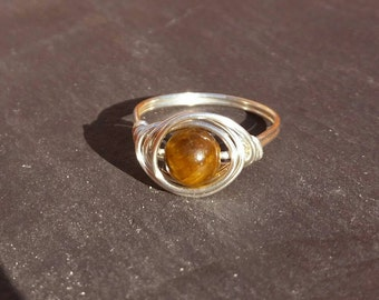 Wire wrapped tigers eye ring