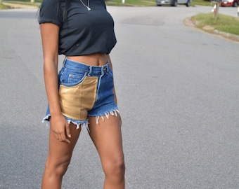 Gold Leather High Waisted Denim Shorts