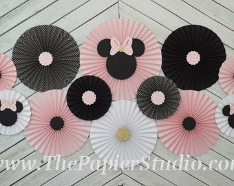 Pink and Black, Minnie Mouse Inspired, Set of 12 (TWELVE) paper fans/rosettes for Girl Baby Shower,Birthday Party or Wedding