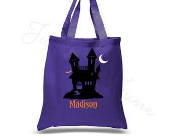 Halloween Bag, Haunted House Personalized Trick Or Treat Bag - Trunk-Or-Treat - Personalized With Name