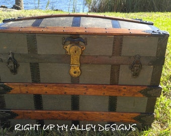 Vintage Trunk,Antique trunk,Dome Top Trunk,Old Vintage Trunk,Blue Vintage Trunk,Storage Trunk,1800's Trunk,Large Steamer Trunk,Wood Trunk