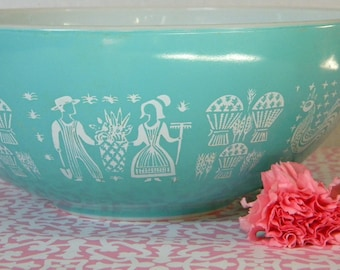Pyrex Butterprint Cinderella Bowl Amish blue turquoise and white