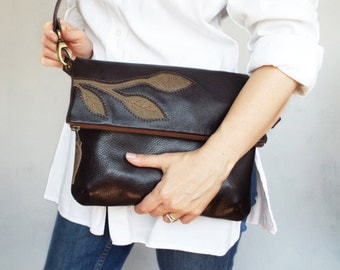 Brown leather crossbody bag. Foldover cross body bag. Brown leather purse.