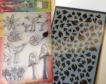 Dylusions by Dyan Reaveley - GARDEN LEAVES Stamp & Stencil set cc02 SS028