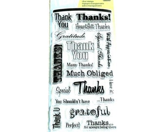 Inkadinkado Clear Acrylic Stamp Set - THANK YOU WORDS Thanks Special with appreciation Clear Stamp Set - new cc02