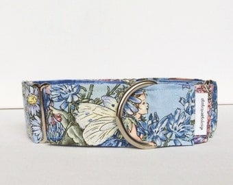 Fairies martingale collar (dog collar, greyhound martingale, sparkle, lilac, lavender, periwinkle, flowers, pastel, mythical, cotton)