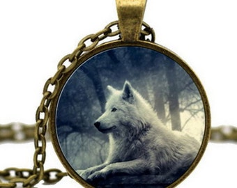 wolf picture pendant necklace cabochon