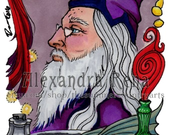Chocolate Frog Card Dumbledore 2nd Edition ACEO Print
