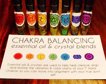 CHAKRA BALANCING Vial OIL Sets | Essential Oils | Crystal Infused | Chakra Oils | Made on Full Moon and New Moons