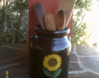 Vintage Brown Stoneware Utensil Crock with Sunflower, by Harris Potteries,  Brown Utensil Crock, Sunflower Crock, Sunflower Utensil Crock