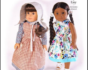 Pixie Faire Thimbles and Acorns Country Girl Doll Clothes Pattern for 18 inch American Girl Dolls - PDF