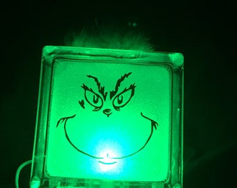 Grinch Face Lighted Glass Block