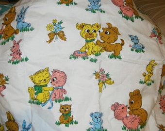 Vintage 1960s pastel fabric for baby, puppies, kittens, bears, rabbits, flowers, pink, blue, yellow, brown