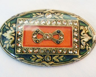 Vintage Catherine Popesco France enamel brooch and earrings