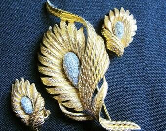 Vintage Demi Parure, Brooch and Earring Set, Gold Tone w Rhinestones