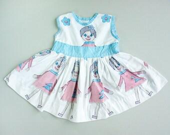 Vintage 50's Red White and Blue Gingham NOVELTY Print Full Circle Skirt Dress / Rag Doll Raggedy Ann Print / Toddler Girl
