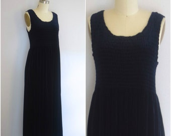 90s Grunge Velvet Dress/ 1990s Midnight Blue Dress/ Goth Maxi Dress/ Womens Size Medium