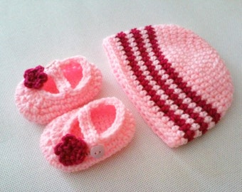 CLEARANCE! RTS 0 to 3 Months Baby Striped Beanie Hat & Mary Jane Booties - Hot Pink, Baby Pink