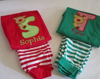 Personalized Children Christmas Pajamas  Monogrammed Reindeer Boy or Girl Pajamas