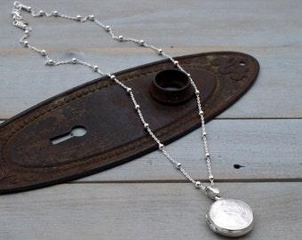 Locket necklace - sterling silver locket - silver locket - round locket - sterling locket necklace -sterling silver locket necklace- Frances